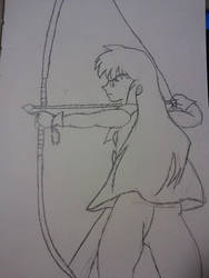 Inuyasha with bow and arrow by dokikittyproductions