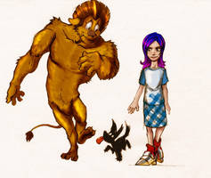 Dorothy and the Cowardly Lion by XimonR