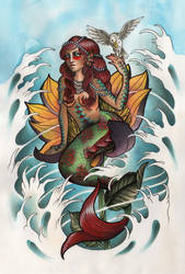 Mermaid and Seagull by Rezurekted