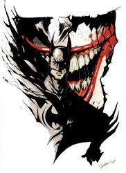 Batman with joker mouth by cartoonmonster233