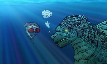 Shark Boxer VS Godzilla by MikeOrion