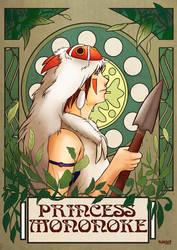 Princess Mononoke Art Nouveau Poster by Suhjus