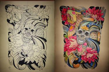 Tattoo design - Japanese Koi and Skull by Xenija88