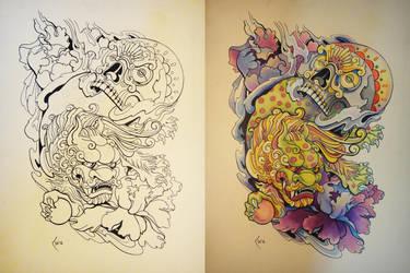 Tattoo design - Japanese Foo Dog and Skull by Xenija88