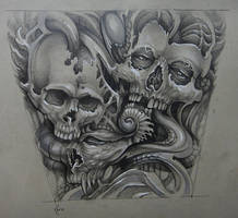 Tattoo design - organic skulls by Xenija88