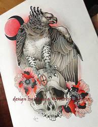 Tattoo Design - Harpia, Skull and flowers by Xenija88