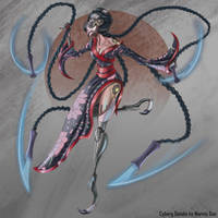 Cyborg Geisha Assassin Character Concept by JackieTeJackal