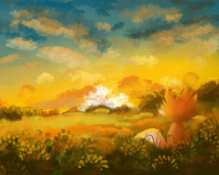 Fox in a field by dragnilu