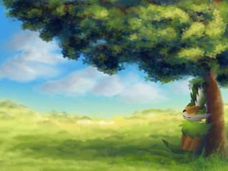 Under a tree by dragnilu