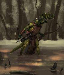 Lizardman Archer by MarkTarrisse