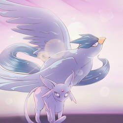 Articuno and Espeon Duo by RedKyuren