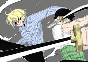 Sanji vs Zoro-colour by LadyBad