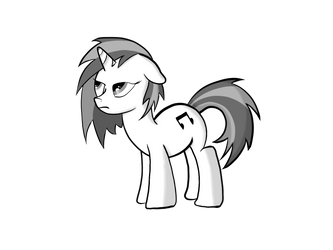 Monochromatic Vinyl Scratch is Unimpressed by StrykerBrony