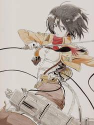 Mikasa Ackerman - Attack on Titan by AaragonNega