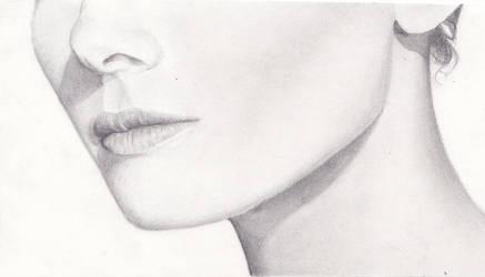 Audrey Hepburn (lower face) by Azure-Mermaid