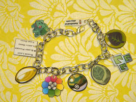 Grass Element Charm Bracelet Custom Pokemon by kouweechi