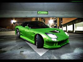 Mazda RX7 Green Monsta by blackdoggdesign
