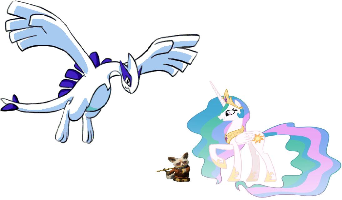 Princess Celestia, Shifu and Lugia by iamnater1225