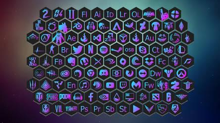 Minimalist gradiant honeycomb icons by FlickeryWolf
