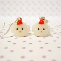 cube chicken earrings by coonies