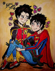 Robin x SuperBoy by nymeriadire