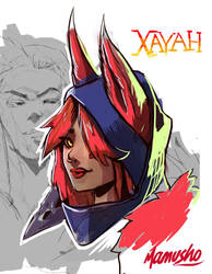 Xayah sketch by Mamusho