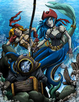 Commission - Pirate Mermaids by MachSabre