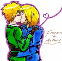 FrUK-Surprise kiss by PromenadeQueen