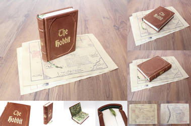 The Hobbit - leatherbound book + vintage maps by Vanyanie