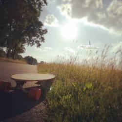 Longboard and sun by Vanyanie