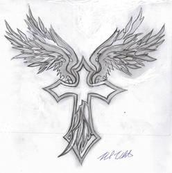 Tribal Wings + cross by mullen1200