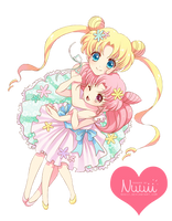 Render #64 - Usagi and Chibimoon (SM) by Nuuii