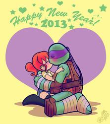 Donatello+April 'Happy New Year 2013 Kissy by JasmineAlexandra