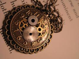 Brass Clock Steampunk Necklace by unoriginalsinner