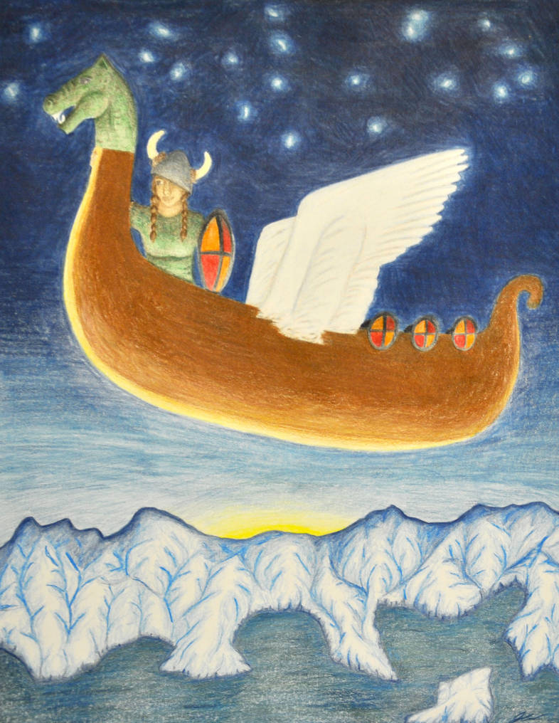 flying_viking_ship___colored_pencil_by_j