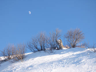 Snowy mountain landscape with moon by A1Z2E3R