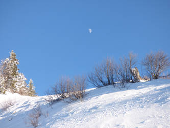 Snowy winterlandscape with moon by A1Z2E3R