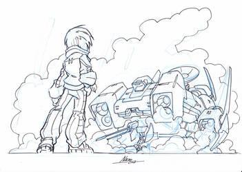 Girl and Spaceship by NachoMon