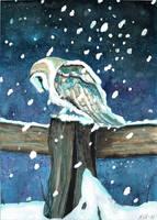 Break during snowfall by KaritaArt
