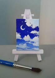 Night sky miniature painting by KaritaArt