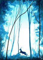 Jumping deer by KaritaArt