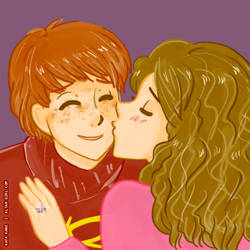 ron and hermione by robokiss