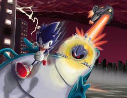 Sonic vs. Metal Sonic by KingMetalZel