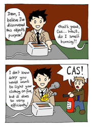Castiel vs The Toaster by blackbirdrose
