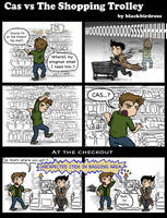 Cas vs The Shopping Trolley by blackbirdrose