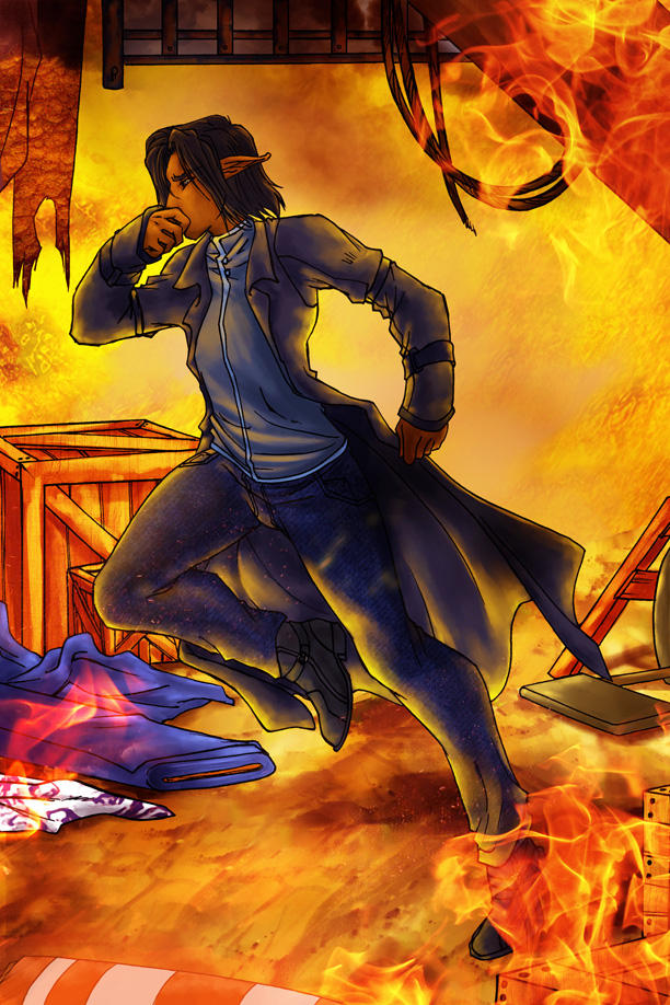 Leander Running Through a Burning Building by p-soldiers