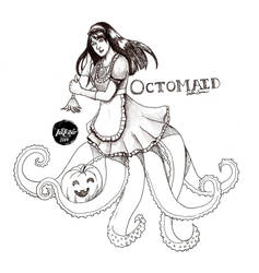 -Inktober 2014/Monster Girl Challenge- 8. Octomaid by midnightc10