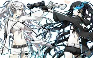 Black Rock Shooter + White Black Shooter Render by kanonvocaloid