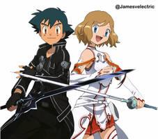 Ash and Serena cosplay as Kirito and Asuna (SAO) by Jamesvelectric