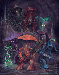 A Party of Myconids by SpiralMagus